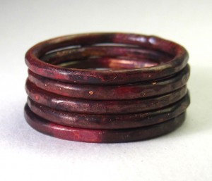 Fired Copper Stacking Rings