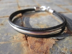 Recycled Leather and Silver Tube Bracelet