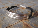 Multi-strand Faux Leather and Silver Bracelet
